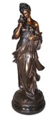 Bronze Goddess Diana with Doves Sculpture