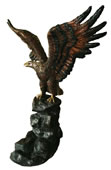 Bronze Eagle on Rock Sculpture, Wings Up