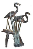 Two Herons on Log Bronze Fountain