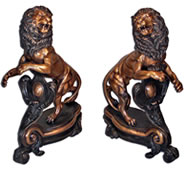 Bronze Lion Pair Statues With Shield Andirons