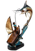 Fisherman with Marlin Statue- Bronze/Color