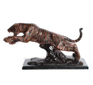 Bronze Jumping Tiger Sculpture