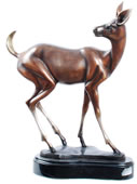 Bronze Doe Statue on Marble Base