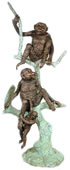 Bronze Monkeys on Tree Sculpture