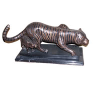 Bronze Tiger and Cub Sculpture
