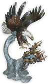 Bronze Eagle Catching Salmon Sculpture