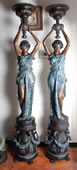 Bronze Lady Pair on Pedestals with Urns