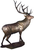Bronze Reindeer Sculpture on Base, Large