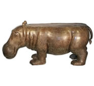 Bronze Hippo Bench