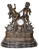 Bronze Mantel Clock- Two Angels/Cherubs