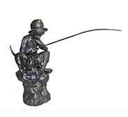 Bronze Boy Fishing With Dog