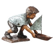 Bronze Boy with Sailboat