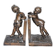 Boy and Girl Bookends, Bronze