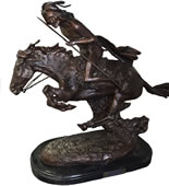 Bronze Cheyenne Indian on Horse Statue