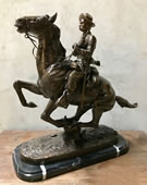 Trooper on the Plain Bronze Western Statue