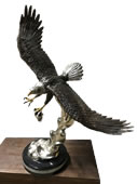 Bronze Eagle with Fish on Marble Base