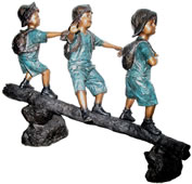 Kids Walking on Log, Bronze