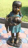 Little Girl with Holding Puppy, Bronze