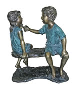 Bronze Boy and Girl on Bench
