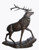 Bronze Deer Sculpture on Base