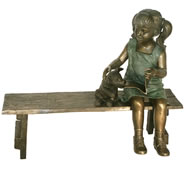 Reading Girl with Dog on Bench, Bronze