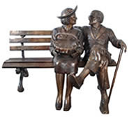 Forever Love- Bronze Senior Couple on Bench