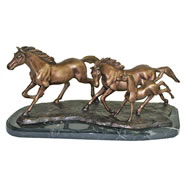 Running Horses Bronze Sculpture on Marble Base