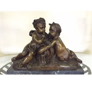 Two Cherubs with Barrel on Marble Base- Bronze