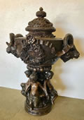 Ram Head Urn with Lid- Bronze