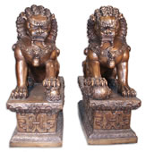 Chinese Guardian Lions Pair- Bronze Statues