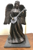 Bronze Angel Playing Mandolin Statue
