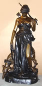 Huntress Diana with Hound- Bronze Sculpture