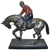 Bronze Jockey on Horse Sculpture