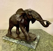 Bronze African Elephant Statue on Marble Base