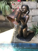 Kneeling Girl with Bucket Bronze Fountain