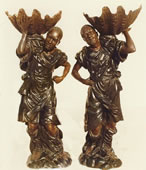 Pair of Blackamoors with Shells- Bronze Statues