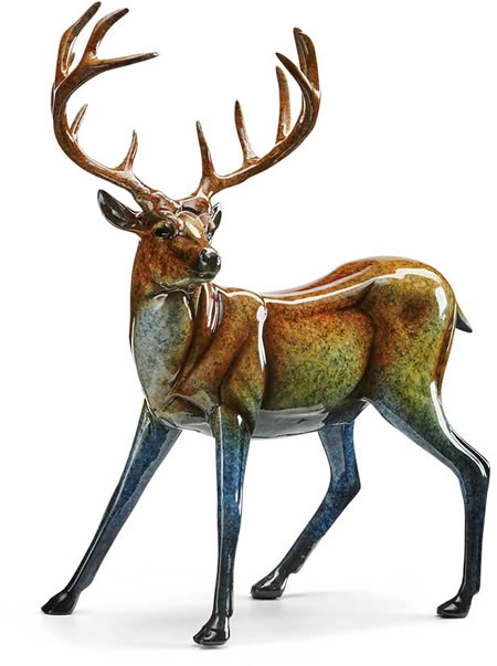 Suspense Deer Sculpture, Gloss Finish