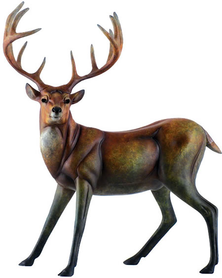 Suspense Deer Sculpture, Bisque Finish