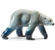 Northern Lights Polar Bear Statue, Gloss Finish