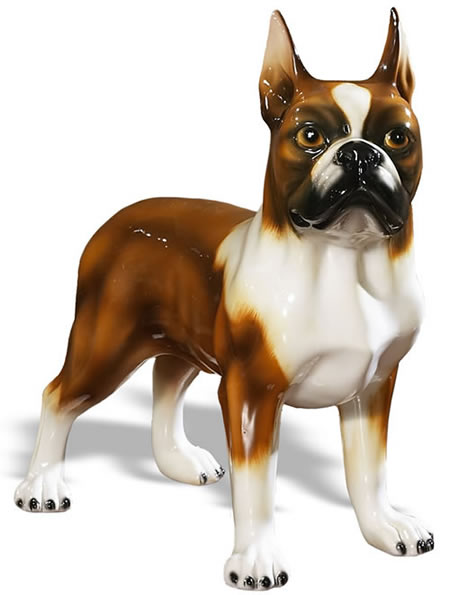Boston Terrier Sculpture, Brown/White