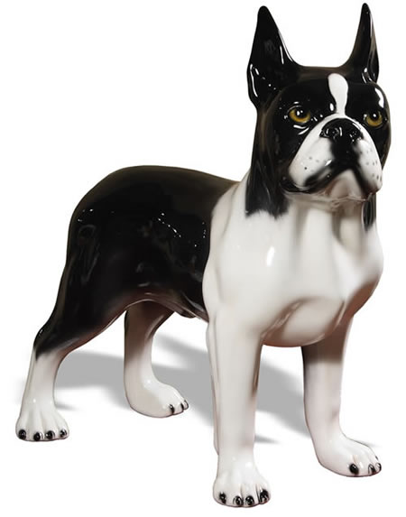 Boston Terrier Sculpture, Black/White