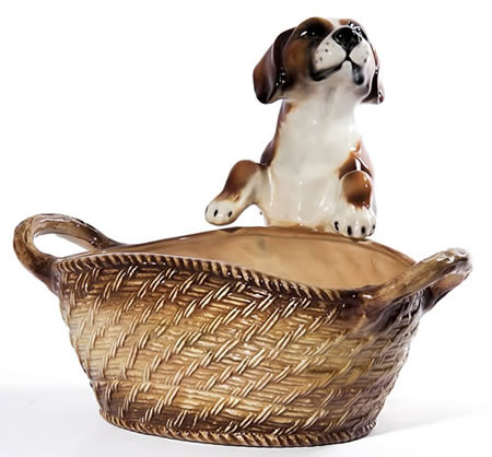 Beagle with Basket Sculpture