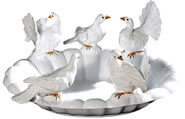 Tabletop Birdbath with Doves, Small