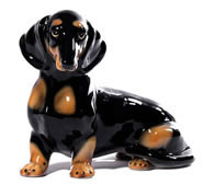 Black and Brown Dachshund Sculpture