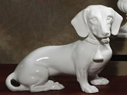 Ceramic Dachshund Sculpture, White