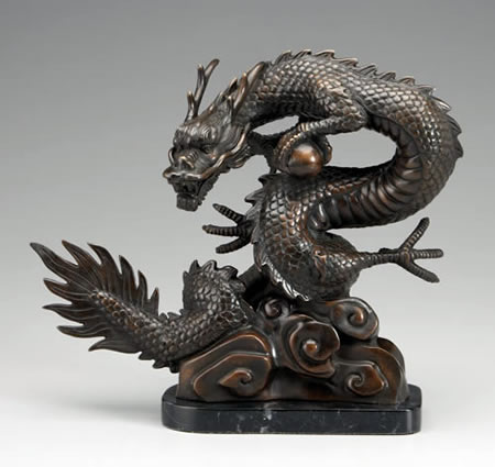 Bronze Dragon Statue on Marble Base