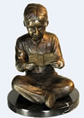 Boy Reading Book in Bronze