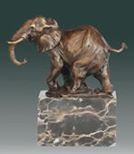 Bronze Elephant Statue on Marble Base