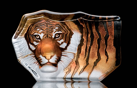 Crystal Tiger Sculpture 8.5 Inch