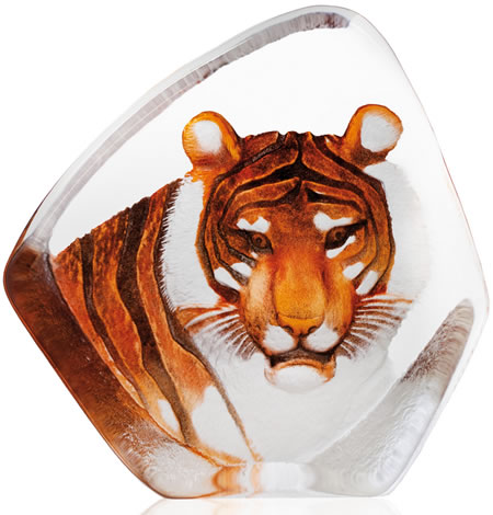 Crystal Tiger Sculpture With Color